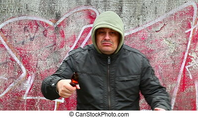 Man with broken glass beer bottle 7
