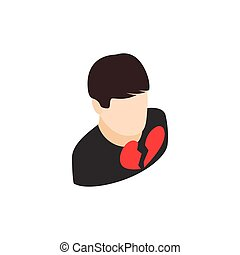 Man with broken hearth icon, isometric 3d style