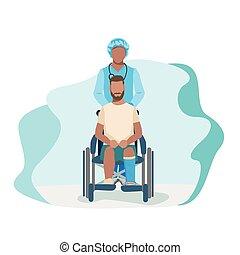 man with broken leg in hospital