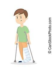 Man with broken leg. - Isolated man with broken leg on white...