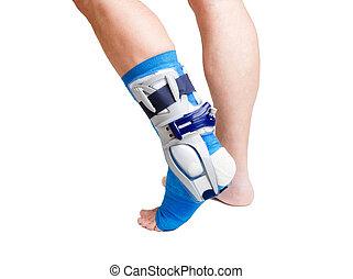 Man with broken leg - Man with a broken leg with bandage on...