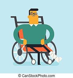 Man with broken leg sitting in a wheelchair.
