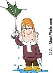 Man with broken umbrella - Depressed wet man holding a...