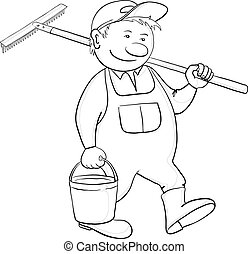 Man with bucket and rake, contour