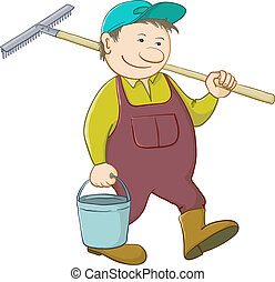 Man gardener with a bucket and a shovel goes to work in a garden