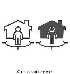 Man with building and connection area line and solid icon, smart home concept, technology vector sign on white background, subscriber of artificial intelligence icon in outline style. Vector graphics.