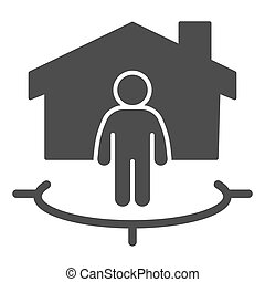 Man with building and connection area solid icon, smart home concept, technology vector sign on white background, subscriber of artificial intelligence icon in glyph style. Vector graphics.