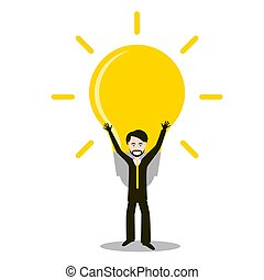 Man with Bulb. Idea and Success Symbol. Vector Invention Icon.