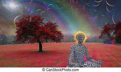 Man with burning halo meditates in lotus pose