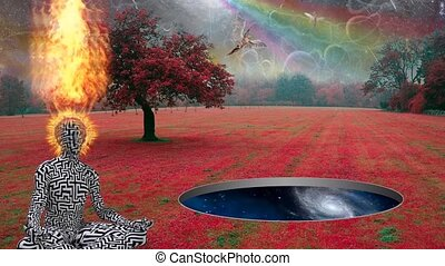 Surreal landscape with wormhole - Man with burning head ...