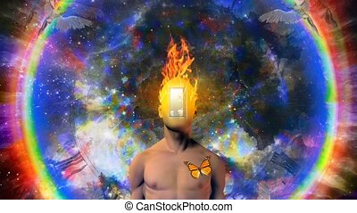 Man with burning mind and open door instead of face in cosmic space animation