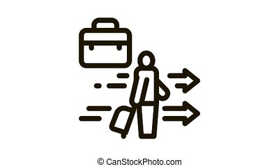 man with business suitcase Icon Animation. black man with business suitcase animated icon on white background