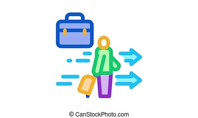 man with business suitcase Icon Animation. color man with business suitcase animated icon on white background