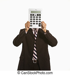 Man with calculator.