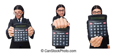 Man with calculator isolated on white