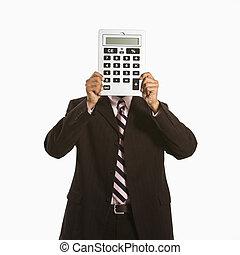 Man with calculator.