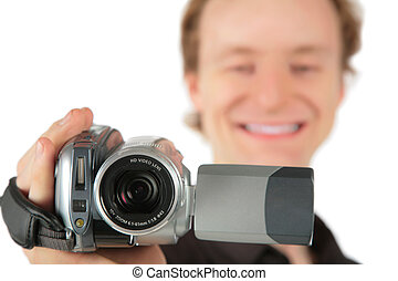 Man with camcorder