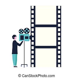 man with camera strip production movie film