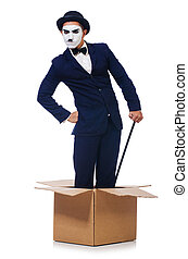 Man with cane in the box