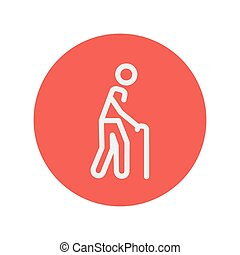 Man with cane thin line icon for web and mobile minimalistic...