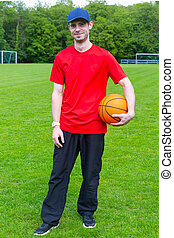 Man with Cap and Basketball