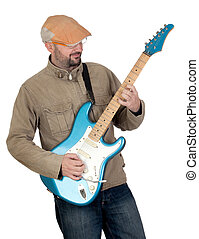 Man with cap playing electric guitar