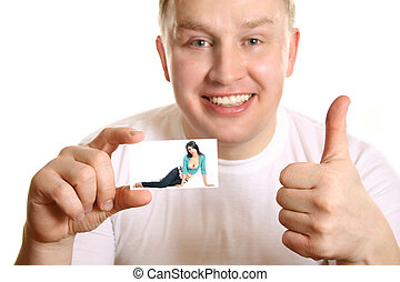 man with card of girl and thumb up, collage