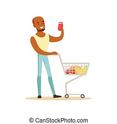 Man With Cart Of Groceres Shopping In Department Store ,Cartoon Character Buying Things In The Shop