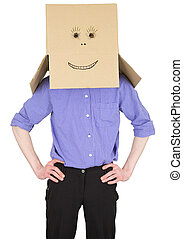 Man with carton box instead of head