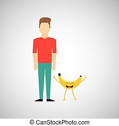 man with cartoon fruit banana