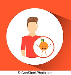 man with cartoon orange fruit