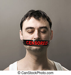 man with censored tape on face - man's portrait with black...