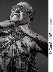 man with chains and blindfolded concept of prison, without ...
