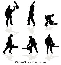 man with chainsaw vector illustration