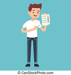 Man with checklist in hand. Vector illustration