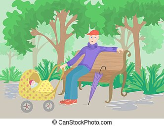 Man with child in pram sitting on a park bench after rain, cartoon vector illustration.