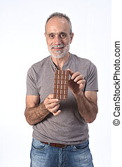 man with chocolate on white background