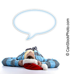 man with christmas hat watching speech bubble
