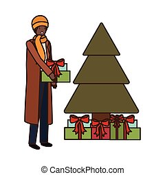 man with christmas tree and gifts boxs