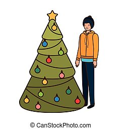 man with christmas tree avatar character