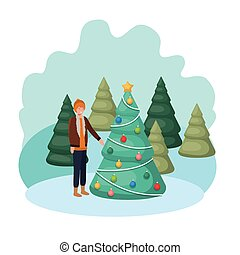 man with christmas tree in landscape