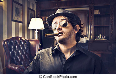 Man with cigar - Gangster man with cigar
