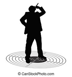 man with cigarette on the target illustration