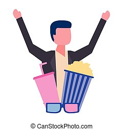 man with cinema popcorn and soda glasses movie film
