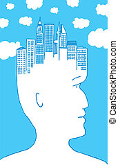 Man with city in his head