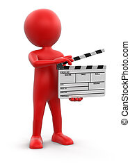 Man with Clapboard. Image with clipping path.