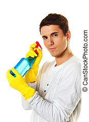 man with cleaning fluid. cleaning the apartment. haussmann...