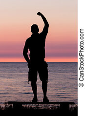Man with clenched fist
