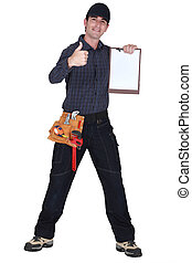 Man with clip-board giving thumbs-up