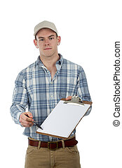 man with clip board - man delivery guy with clip board